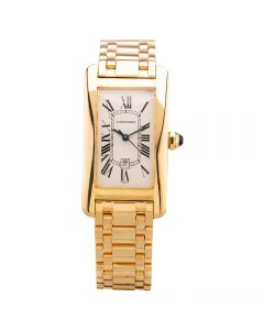 Second Hand Cartier Ladies Tank Americaine Midsize 18ct Yellow Gold Automatic Bracelet Watch 1725