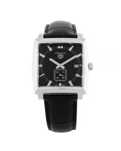 Second Hand TAG Heuer Monaco Quartz Black Leather Strap Watch WAW131A.FC6177
