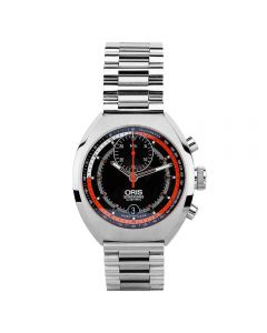 Second Hand Oris Chronoris Orange Bracelet Watch 01 672 7564 4154-Set