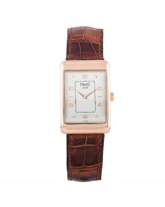 Second Hand Piaget 18ct Yellow Gold Rectangular Brown Leather Strap Watch Q600520(446)
