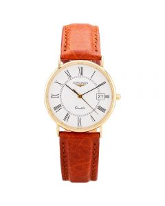 Second Hand Longines Mens 18ct Yellow Gold Brown Leather Strap Watch 25516
