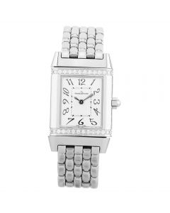 Second Hand Jaeger LeCoultre Reverso Diamond Silver Bracelet Watch 265.8.47