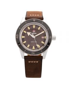 Second Hand Rado Mens Captain Cook Automatic Brown Leather Strap Watch R32505305