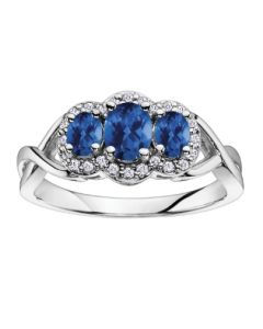 9ct White Gold Sapphire and Diamond Triple Cluster Twist Ring 51Y38WG/9-10