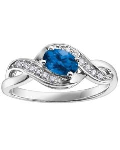 9ct White Gold Sapphire and Diamond Swirl Ring 51Z50WG/9 SAPH