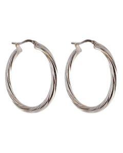 Silver Twisted Hoop Earrings 8-53-9039