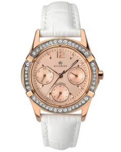 Accurist Ladies Contemporary Rose Gold Tone White Leather Strap Watch 8055