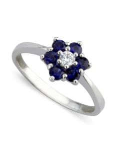 9ct White Gold Sapphire and Diamond Flower Cluster Ring 8847/9W/DQ10S