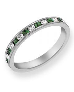 Sterling Silver Green and White Crystal Eternity Ring 8.80.0621