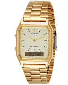 Casio CASIO Vintage Gold Plated Square Dial Duo Display Bracelet Watch AQ-230GA-9DMQYES