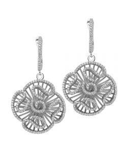 Fei Liu Cascade Silver Large Cubic Zirconia Flower Dropper Earrings CAS-925R-202-CZ00