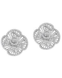 Fei Liu Cascade Silver Large Cubic Zirconia Flower Stud Earrings CAS-925R-203-CZ00