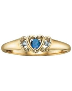 9ct Yellow Gold Sapphire and Diamond Triple Heart Ring CH253-9