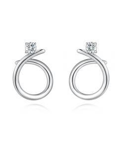 Fei Liu Iridiana Silver Plain Cubic Zirconia Swirl Earrings COR-925R-201-CZ00