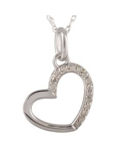 9ct White Gold Diamond Fancy Open Heart Pendant CP8871 9KW