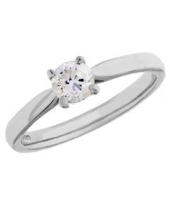 Platinum 4 Claw Diamond Ring CR45(0.50ct PLUS)-G/SI1/0.51ct