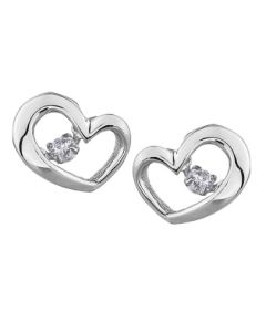 9ct White Gold 0.10ct Diamond Pulse Open Heart Stud Earrings E3113W/10-9