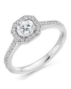 Platinum Diamond-Shoulder Halo Cluster Engagement Ring (M) ENG3550