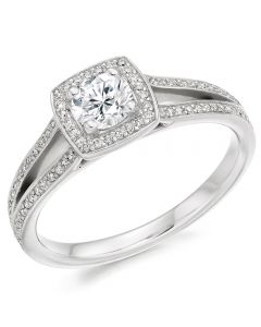 Platinum Split-Shoulder Halo Diamond Engagement Ring (L) ENG3579