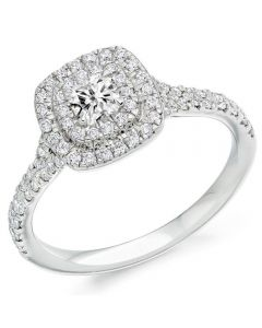 Platinum Diamond-Shoulder Halo Cluster Engagement Ring (L) ENG4351