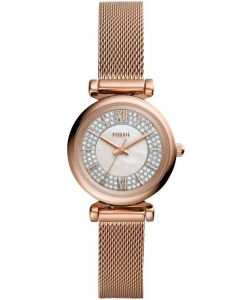 Fossil Ladies Carlie Mini Rose Gold Tone Watch ES4836