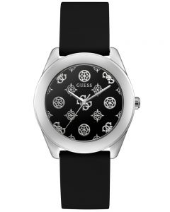 Guess Peony G Silver Black Silicone Black Dial Watch GW0107L1