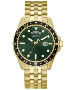 Guess Comet Green Dial Gold Watch GW0220G2