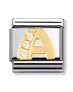 Nomination CLASSIC Gold Letters Cubic Zirconia A Charm 030301/01