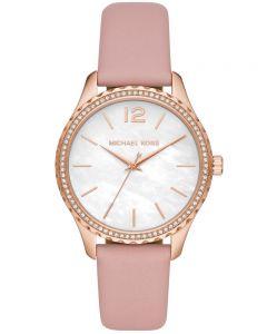 Michael Kors Ladies Layton Pink Leather Strap Watch MK2909