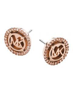 Michael Kors Rose-Gold 'MK' Logo Crystal Stud Earrings MKJ2942791
