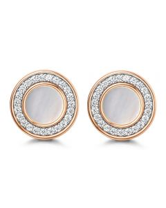 Fei Liu Mother Of Pearl Cubic Zirconia Halo Stud Earrings MOP-925P-201-MPCZ