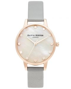 Olivia Burton Ladies Midi Rose Gold Mother of Pearl Grey Leather Strap Watch OB16SE12