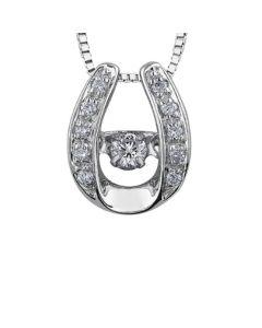 9ct White Gold 0.16ct Diamond Pulse Horseshoe Pendant P3122W/16-10