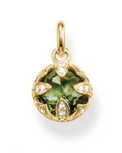 Thomas Sabo Gold Plated Green Cubic Zirconia Round Pendant PE685-632-6