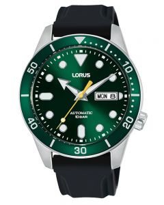 Lorus Mens Green Dial Black Rubber Strap Watch RL455AX9