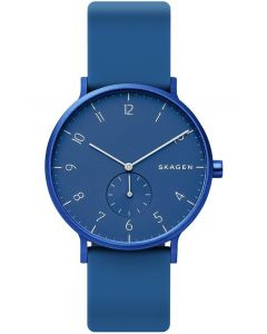 Skagen Mens Aaren Kulor Stainless Steel Dark Blue Rubber Strap Watch SKW6508