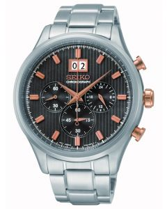 Seiko Mens Black and Rose Gold Chronograph Dial Stainless Steel Bracelet Watch SPC151P1
