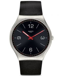Swatch Mens Skinblack Strap Watch SS07S100