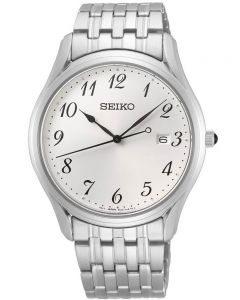 Seiko Mens Stainless Steel Bracelet Round White Dial Date Watch SUR299P1