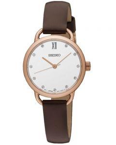 Seiko Ladies Leather Strap Watch SUR698P2