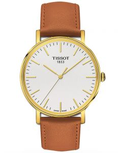Tissot Mens Everytime Gold Plated Brown Strap White Watch T109.410.36.031.00