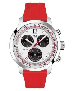 Tissot Mens PRC 200 Chronograph Red Rubber Strap Watch T114.417.17.037.02