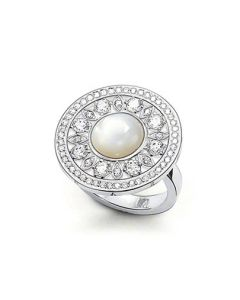 Thomas Sabo Silver Mother Of Pearl CZ Fancy Circle Ring TR1957-030-14