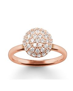 THOMAS SABO Rose Gold Plated Clear Cubic Zirconia Pavé Dome Band TR1972-416-14
