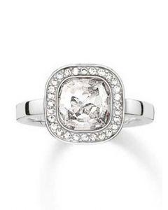 THOMAS SABO Silver Square Cubic Zirconia Ring TR2029-051-14