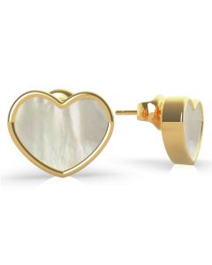 GUESS Sea Gift Mother Of Pearl Gold Heart Stud Earrings UBE79019