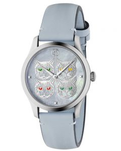 Gucci Ladies G-Timeless Contemporary Blue Mother Of Pearl Feline Head Dial Leather Strap Watch YA1264124