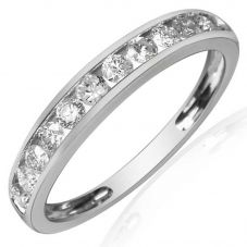 9ct White Gold 0.20ct Diamond Channel Set Half Eternity Ring R10047S20 WG