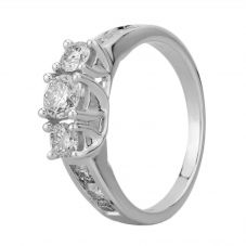 18ct White Gold 1.00ct Diamond Shouldered Trilogy Ring THR4901