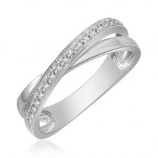 9ct White Gold 0.16ct Diamond Crossover Ring 9275R016 WG